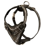 Painted Leather Dog Harness for Walking and Training