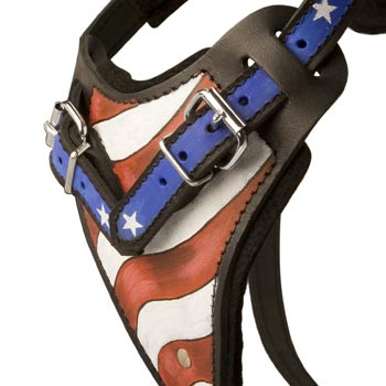 Dog Leather Harness With Hand Painted USA  Chest Plate
