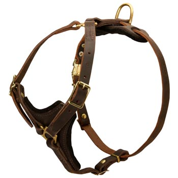 Dog Harness Y-Shaped Brown Leather Easy Adjustable for Best Fit